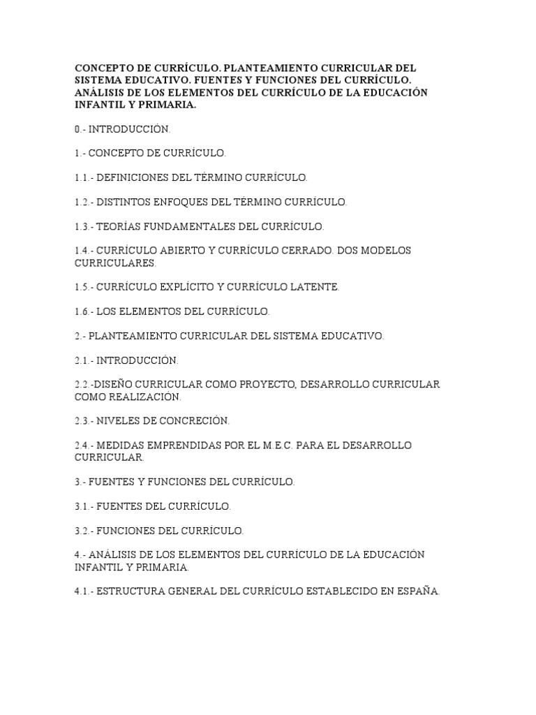 CONCEPTO DE CURRÍCULO parvulario