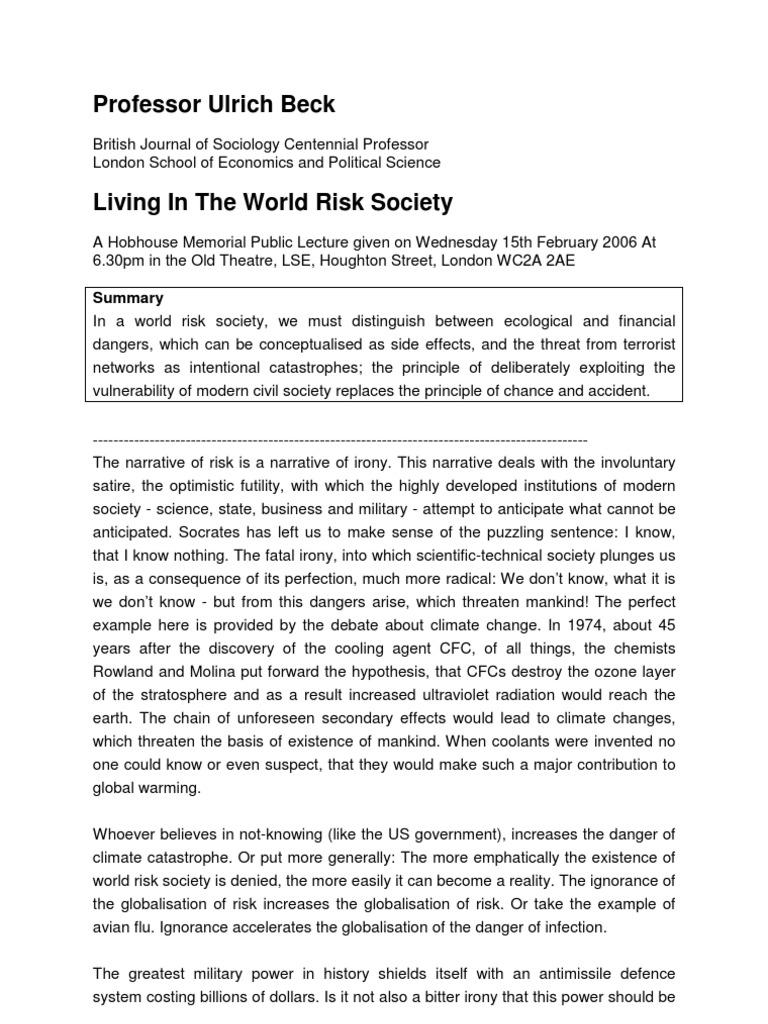 risk society summary
