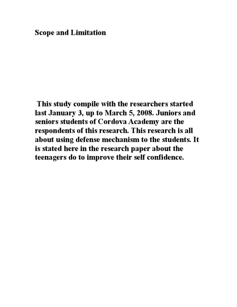 scopes and limitations in research paper