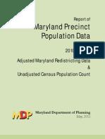 Maryland 2012 Redistricting Plan Precinct Data