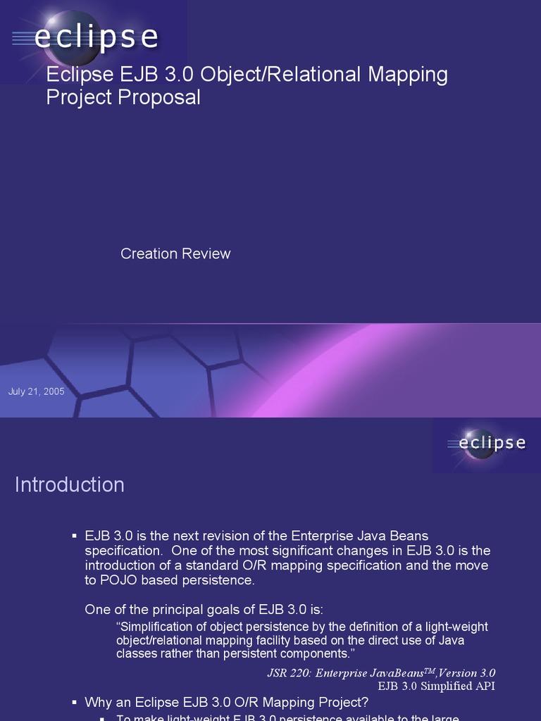 Eclipse EJB 3 0 ORM | Enterprise Java Beans | Software