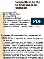 Gender Perspectives to the Issues and Challenges in Higher Education Presentation at Refresher Course by Prof. Vibhuti Patel on 18-10-2011