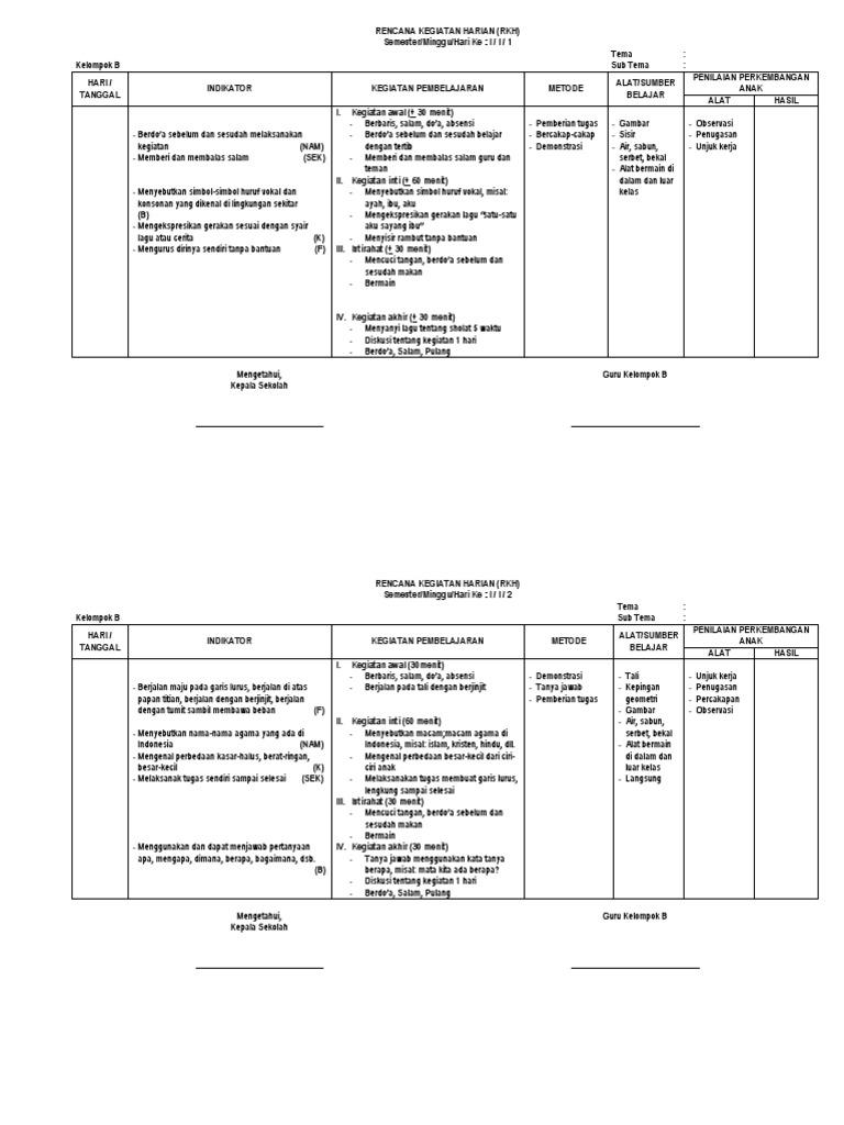 Rencana Kegiatan Harian Kelompok B Tk