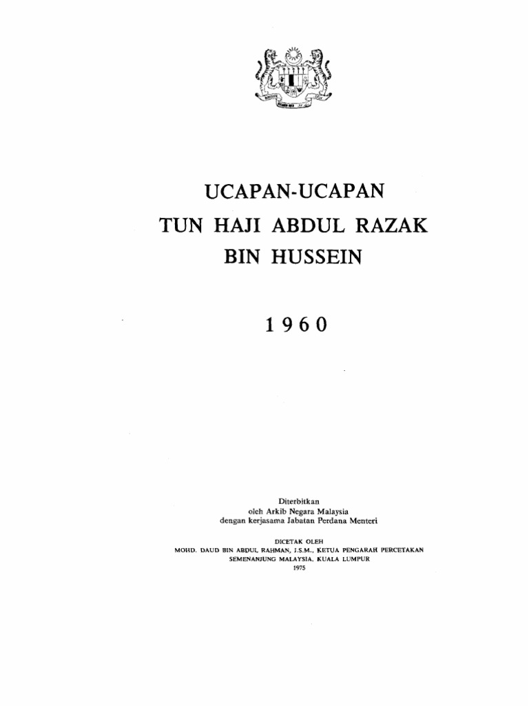 1960ucapan Tun Haji Abdul Razak Bin Hussein Malaysia Parliament