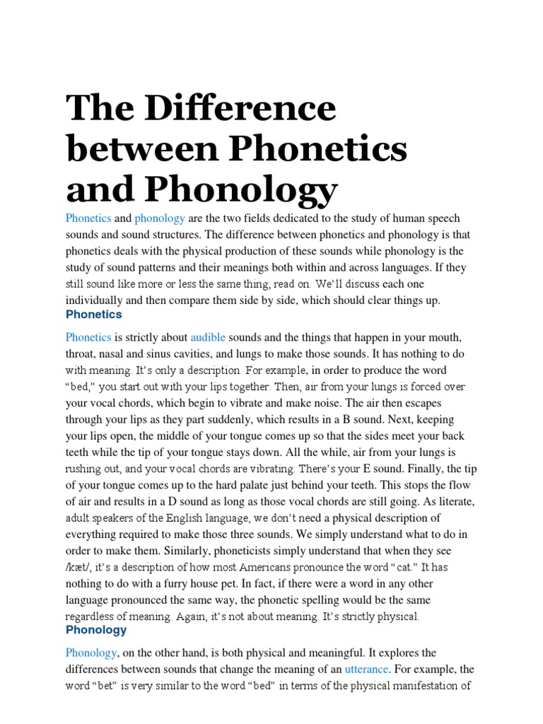 The Difference Between Phonetics And Phonology Phonology Phonetics