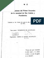 Conclusiones del Primer encuentro de la Juventud de San Andrés y Providencia 1974