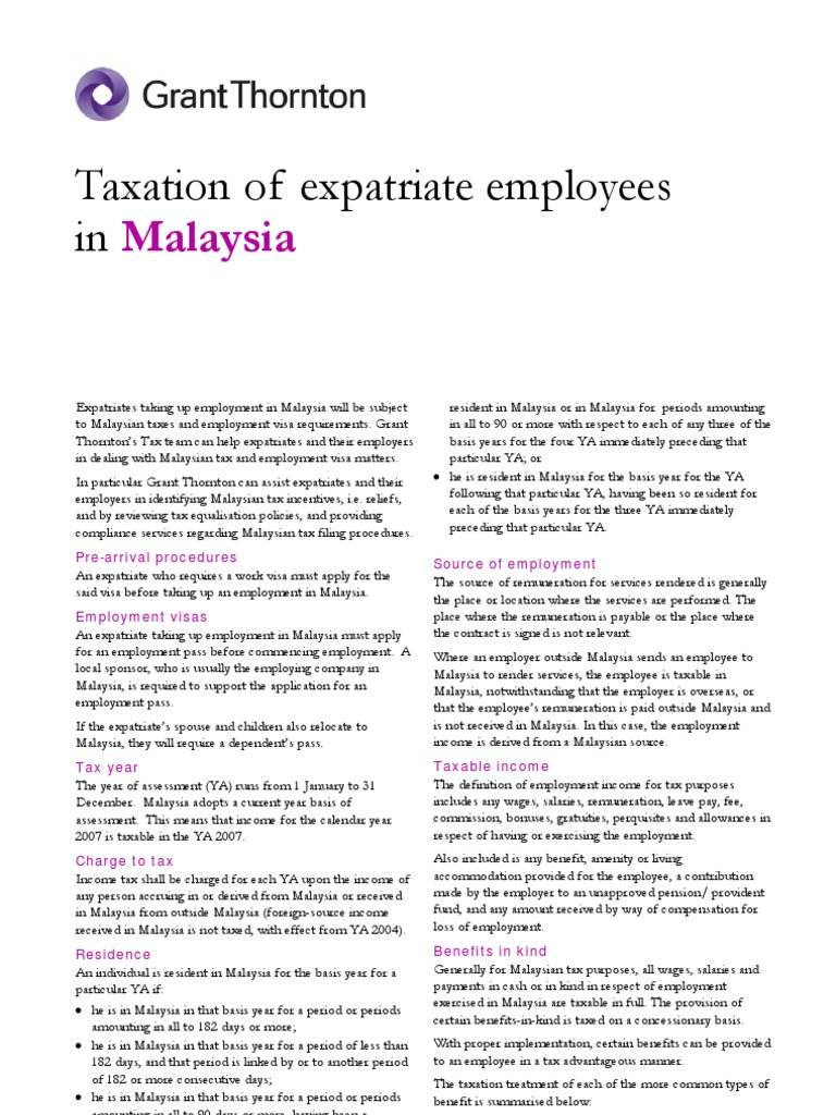 Malaysia Expat Tax Guide 2008 | Employee Benefits | Taxes