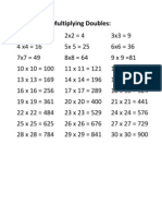 Multiplying Doubles - Sheet