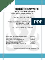 Trabajo-presupuesto de Gastos de Venta y Admin is Trac Ion