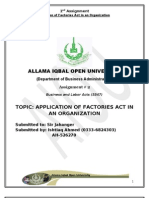 Application of Factories Act in an Organization