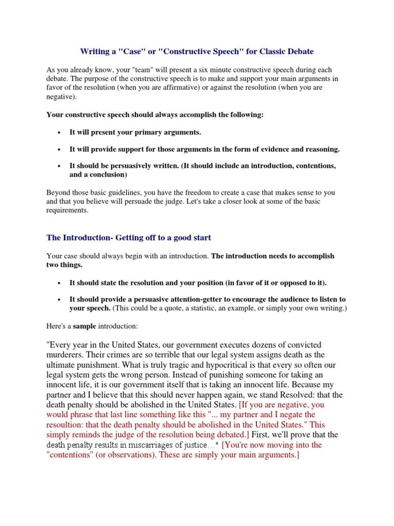 Constructive Speech | Capital Punishment | Argument