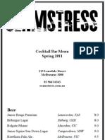 Seamstress Cocktail Menu October 2011
