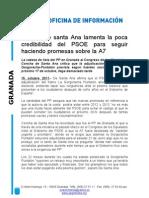 Concha de santa Ana lamenta la poca credibilidad del PSOE para seguir haciendo promesas sobre la A7