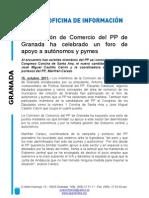 La Comisión de Comercio del PP de Granada ha celebrado un foro de apoyo a autónomos y pymes