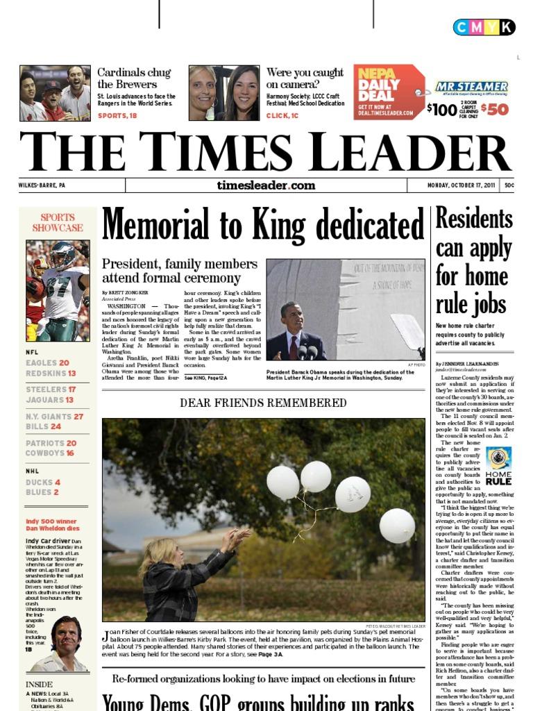 times leader 10-17-2011 | powerball | leisure