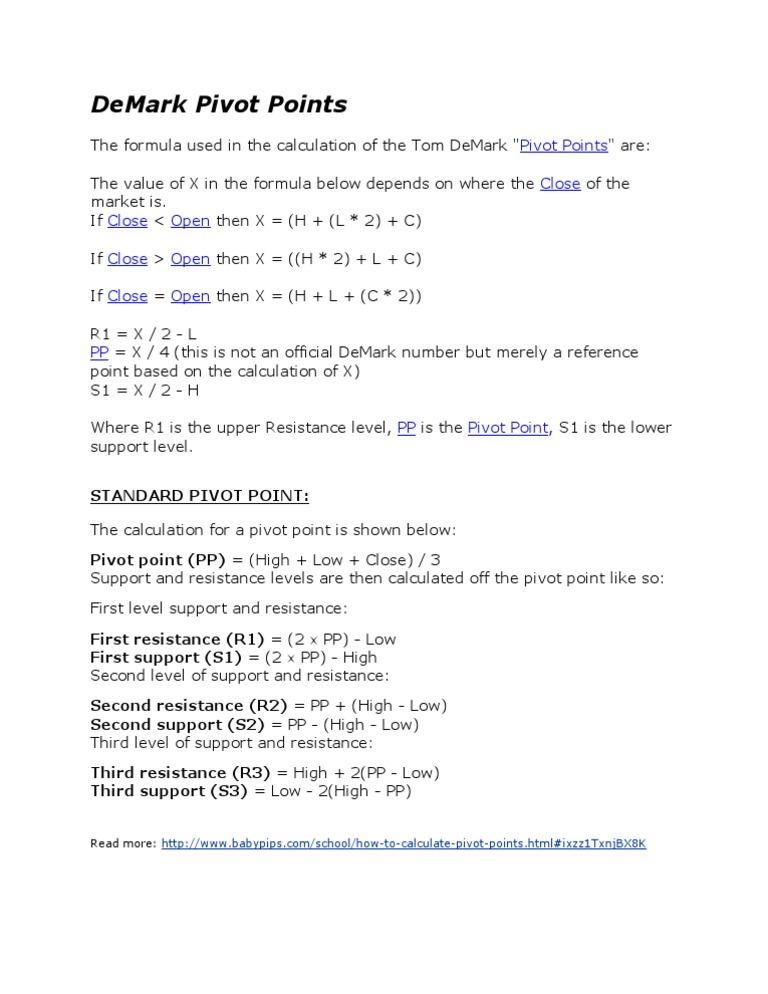 DeMark Pivot Points