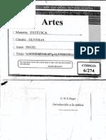 Hegel. - La concepción objetiva del arte en Introducción a la estética