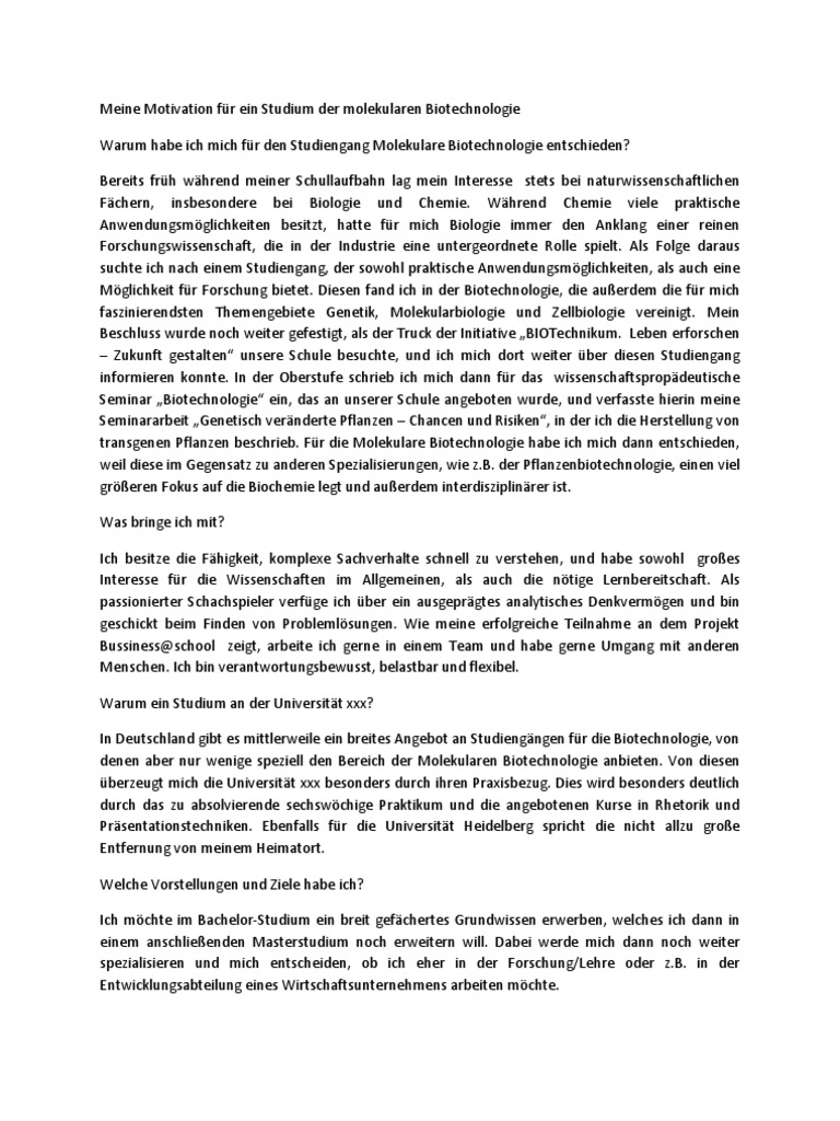 Motivationsschreiben uni for Uni architektur