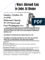 Flyer for Oct. 23rd forum on ending the war to save our economy-BILINGUAL