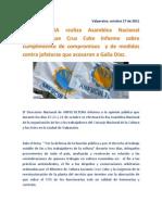 ANFUCULTURA realiza Asamblea Nacional exigiendo que Cruz Coke informe sobre cumplimiento de compromisos  y de medidas contra jefaturas que acosaron a Galia Díaz.
