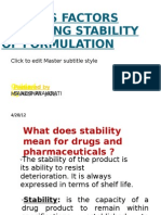 Various Factor Affecting Stability of Formulation