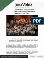 17-10-11Queda aprobada la obligatoriedad  de Bachillerato y la educación media superior