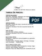 TABELA DE PREÇOS COZINHA VISUAL