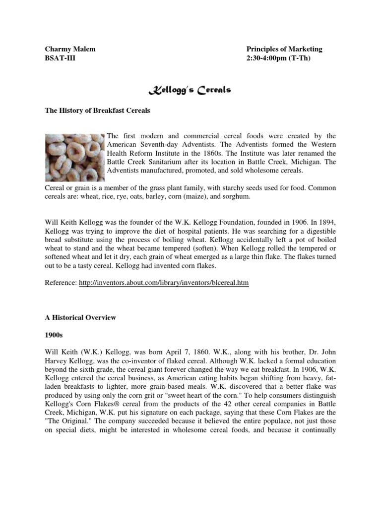 Marketing History Of Kelloggs Cereals Food Industry Vegetarian