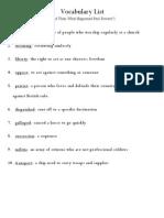 Vocab List-Paul Revere Definitions