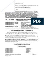 Fall 2011 Exam Schedule Sept. 2