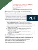 Instalación de los requisitos previos de Exchange 2007 SP1 y SP2 en Windows Server 2008 o Windows Vista