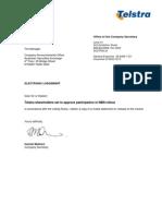 Telstra statement on Shareholder approval for NBN