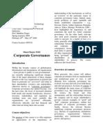 Syllabus Corporate Governance