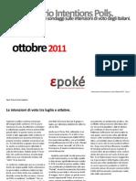 Osservatorio intention polls. Ottobre 2011.