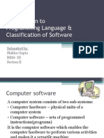 Introduction to Programming Language & Classification of Software