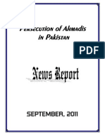 Monthly News Report - Ahmadiyya Persecution in Pakistan - September, 2011