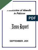 Monthly News Report - Ahmadiyya Persecution in Pakistan - September, 2011