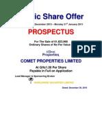 Prospectus - Comet Properties IPO