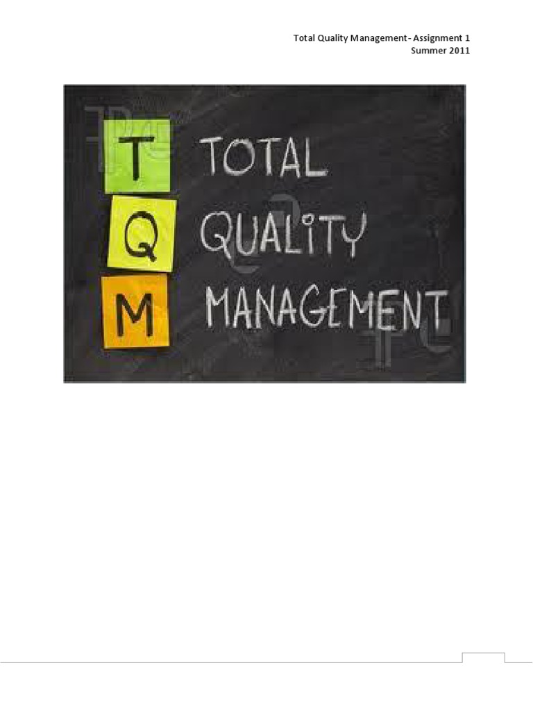 tqm assignment goal organizational culture