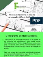 Memorial Descritivo de Projeto para uma Residência Unifamilia 2r