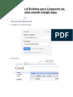 Manual para el Profesor para compartir Documentos usando Google Docs