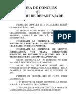 Proba de Concurs Si Criterii de Departajare-Admitere Iulie 2011