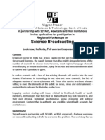 Announcement for Regional Workshops on Science Broadcasting