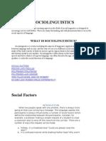Lecture Notes on Sociolinguistics