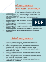 List of Assignments java