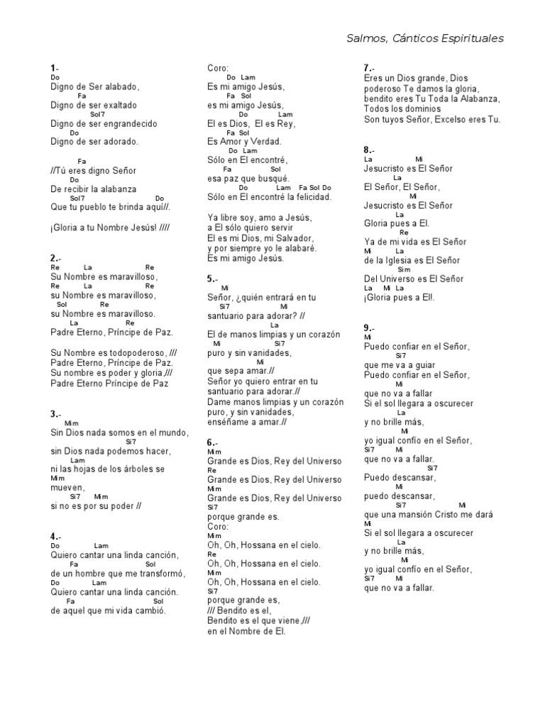 C nticos y salmos acordes Notas de espectaculos mas recientes