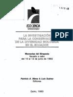 06. La diversidad biológica del Ecuador. Luis Suárez, Roberto Ulloa