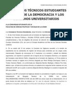 Comunicado CONSEJEROS TÉCNICOS ESTUDIANTES A FAVOR DE LA DEMOCRACIA Y LOS DERECHOS UNIVERSITARIOS