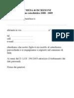 SCHEDA DI ISCRIZIONE AL CATECHISMO 2008 2009