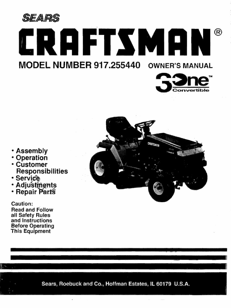 craftsman riding lawn mower manuals